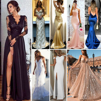 US Women V Evening Party Ball Prom Gown Formal Cocktail Wedding Long Dress Lot