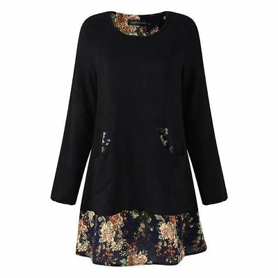 Women Long Sleeve With Pockets Vintage Style Floral Printed Loose Dress