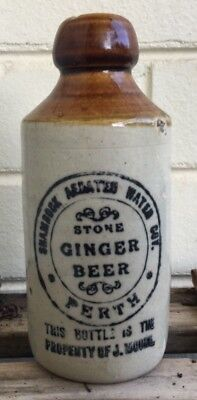 BROWN TOP SHAMROCK GINGER BEER BOTTLE PERTH WA BLOB TOP AERATED WATER CO 1910's
