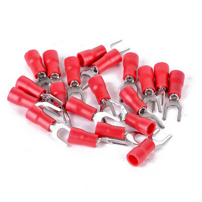 100pcs Red 16-22 AWG SV 1.25-4S Insulated Fork Crimp Terminal Wire Connector
