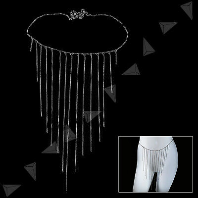 Silver Alloy Waist Thight Flying Tassel Body Belly Bikini Chain Evening Party