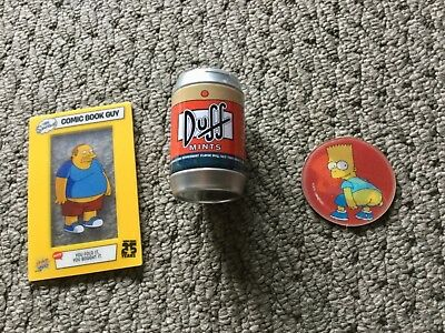 The Simpsons Collectables Lot  Bart Magic Motion Tazo, Duff Beer, Comic Book Guy