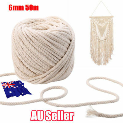 6mm 50m Macrame Rope Natural Beige Cotton Twisted Cord Artisan Hand Craft New MN