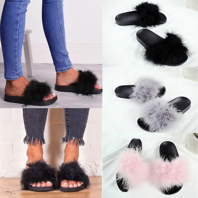 NEW Ladies Women's Chic Flat Fur Fluffy Slippers Comfy Sandals Flip Flops Shoes