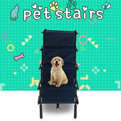 New Pet Stairs 4 Steps Ramp Portable Cat Dog Ladder For Travel Car Tall High Bed