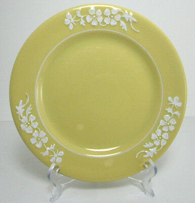 """Buffalo China Colorido 7 1/4"""" Lunch Plate Yellow Eugenie Embossed Flower 1930s"""