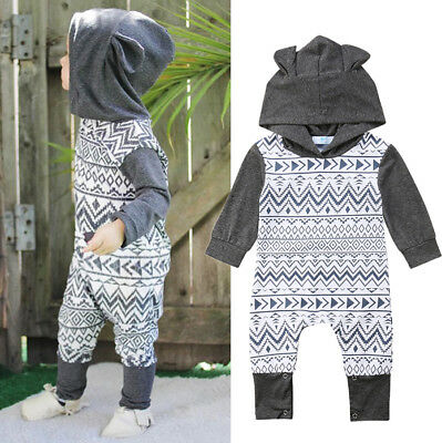 Ear Hooded Newborn Baby Boys Girls Long Sleeve One Piece Romper Jumpsuit Outfit