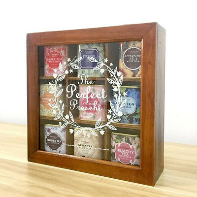 24CM 9 Division Compartment Glass Wooden Lid Tea Storage Box Kitchen Container