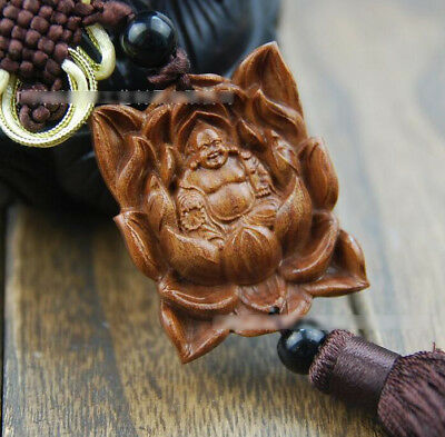 Wood Carved & Buddhism Beads Lotus Happy Buddha Statue Sculpture Amulet