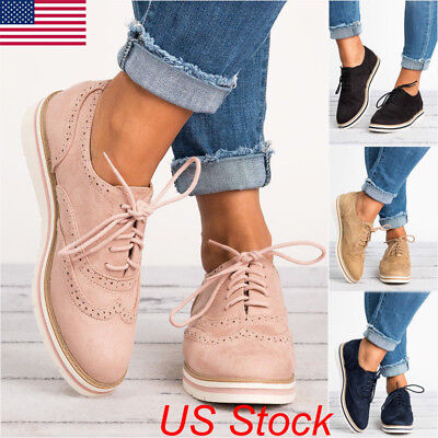 Women Casual WingTip Brogues Oxfords Dress Formal Stitched Lace up Flat Shoes US