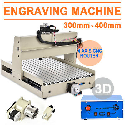 4 AXIS 3040 400W CNC Router Engraver Engraving Cutter Desktop Cutting 275*385MM
