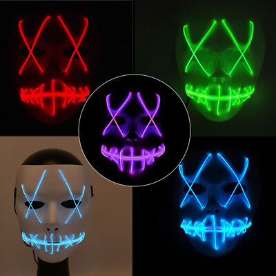 LED Full Face Mask Purge Movie EL Wire DJ Party Halloween Costume Cosplay