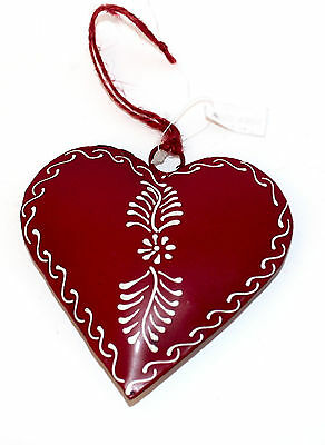 Painted Tin Heart Ornament Flower by Culturas Trading Company-Holiday!