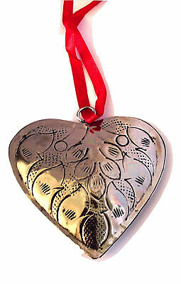 Polished Silver Tin-Etched & Antiqued Heart Christmas Ornament-Holiday!