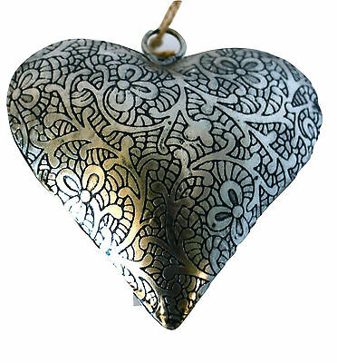 """Unique Handmade Etched Tin 4""""Heart by Culturas Trading Company-Holiday!l"""