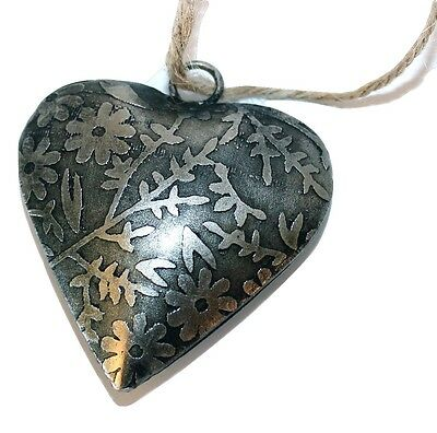 """Handmade Etched Tin 2""""Heart by Culturas Trading Company-Holiday!"""