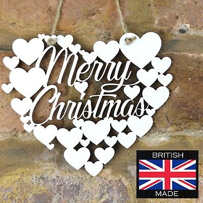 Merry Christmas White Love wall hanging heart gift decoration art sign