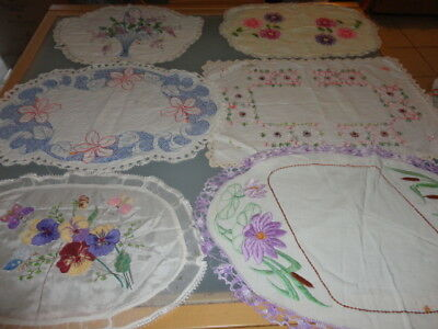 vintage embroidered crochet doileys doilies