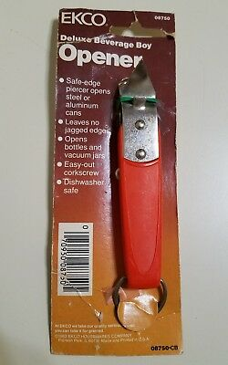 Vintage Ekco Deluxe Beverage Boy Can Opener Tapper Corkscrew Red New Old Stock