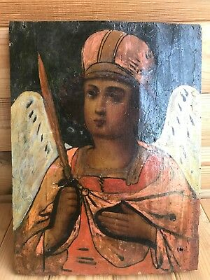 """Antique 19c Rus Orth Hand Painted Wood Icon """"the Archangel Michael"""""""
