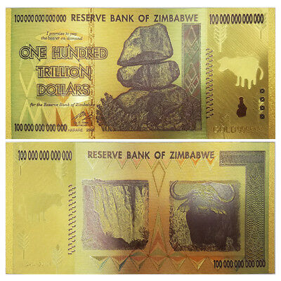 Zimbabwe 100 Trillion Dollars, Color 24K Gold bill , FANCY Note, Collection Xmas