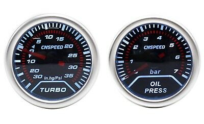 CNS 52mm Smoked Oil Pressure With 1/8NPT Sender & 35 PSI Boost Gauge