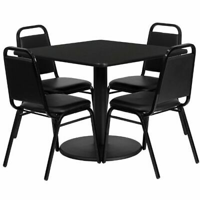 36'' Square Black Laminate Table Set with 4 Black Trapezoidal Back Banquet