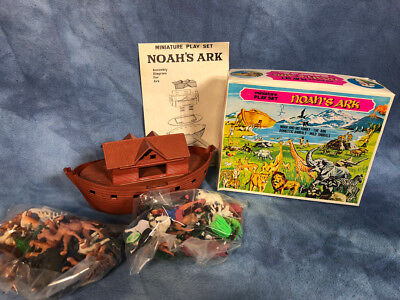Vintage Set of Noahs Ark Toys, Plastic Animals and Boat with Box, Hong Kong 1960