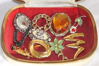 Job Lot Of Vintage /modern Brooches X7/ Scarf Rings X2
