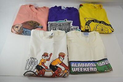 Lot of 5 Vintage Cycling Themed Short Sleeve T-Shirts, All Men's Size Large (#2)