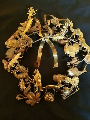 """Antique Dresden Ornament METAL WREATH Holiday 10"""" Brass Christmas Easter Animals"""