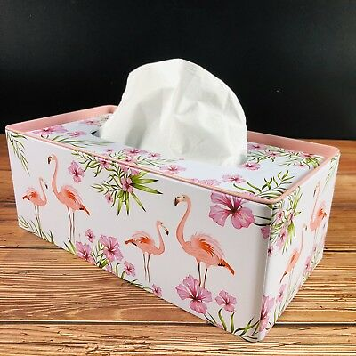 Flamingo Tin Tissue Box Paper Napkin Box Cover Summer Xmas Gift Birthday Holder