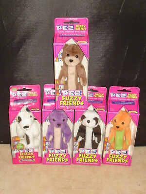 "PEZ FUZZY FRIENDS ""Cuddly Dispensers"" Made w/DAKIN! New Old Stock Lot of 5 EXC"