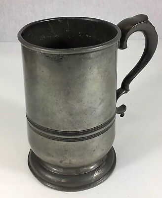 Antique Pewter Quart Measure Tankard By Harton & Sons 17cm In Height