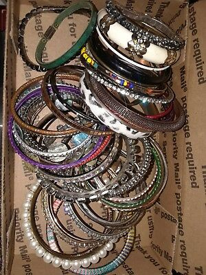 Unsearched untested vintage estate jewelry lot 1 lbs bracelets bangles #50