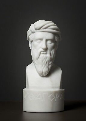 Carved MARBLE bust of Pythagoras of Samos statue Greek marble