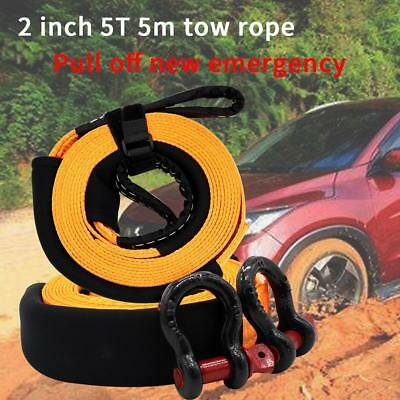 5m 5 Tons Heavy Duty Car Truck Recovery Tow Strap Towing Rope with 2 Tow Hooks