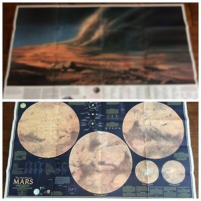 1973 NATIONAL GEOGRAPHIC MAP OF MARS THE RED PLANET vintage map double sided