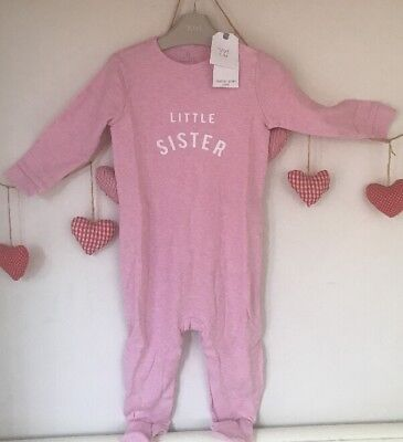 Next Baby Girls Pink Little Sister Sleepsuit With Comfort Feet 12-18 🌸BNWT