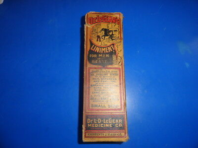 VINTAGE Dr LeGears liniment for man or beast with box and paperwork