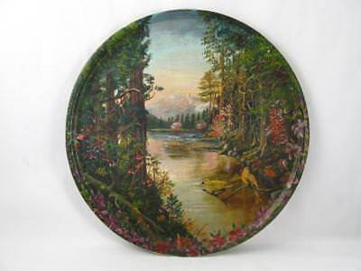 Antique/vintage Folk Art Painting On Wooden Wall Plate