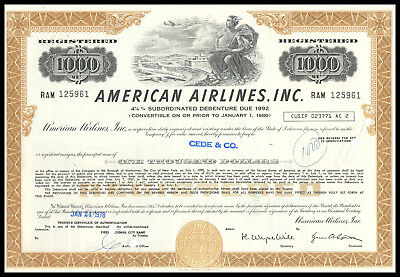 American Airlines, Inc. - 1000 $ - 4,25 subordinated Debenture due 1992