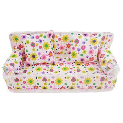 UK Mini Furniture Sofa Couch Chair +2 Cushions Pillows For Barbie Doll House Set