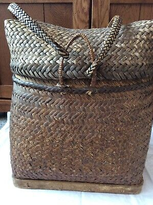 Vintage Woven Wicker Rattan Gathering Backpack Phillipines