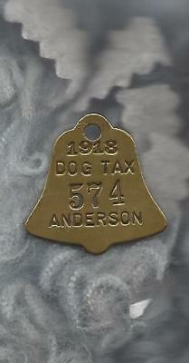 Anderson (IN) dog license tax tag. 1918