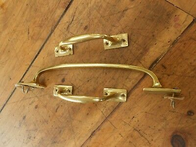 """Vintage Brass Door Push / Pull Bow Handle 12 """" Long & 2 x 6"""" Bow Handles"""