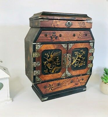 antique Japanese Wooden Jewellery Cabinet, Inlaid Wooden Painted Table Cabinet