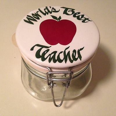 """""""World's Best Teacher"""" Ceramic Top, Reclosable 1/2 L Canister, Made in Italy"""