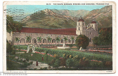 AK USA Post Card The Santa Barbara Mission and Grounds Founded 1786 gel. 1931
