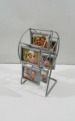 Vtg Brushed Metal Picture Spinning Ferris Wheel 6 Frames holds 12 Picture GIFT